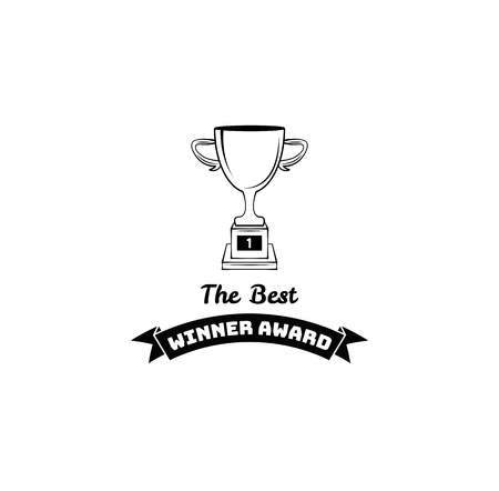 Winner cup icon. Trophy badge. Winner award label. Win symbol. Reward, prize. Vector illustration.