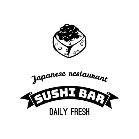 Sushi icon. Rolls. Seafood badge. Japanese food. Asian cuisine.