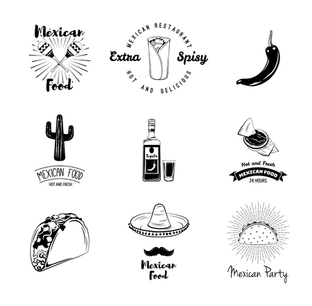 Mexican traditional food set. Mexico symbols. Taco, pepper, nachos, maracas, sombrero, burrito, cactus. Mexican restaurant labels, Mexican cuisine. Food delivery badges. Vector illustration. 일러스트
