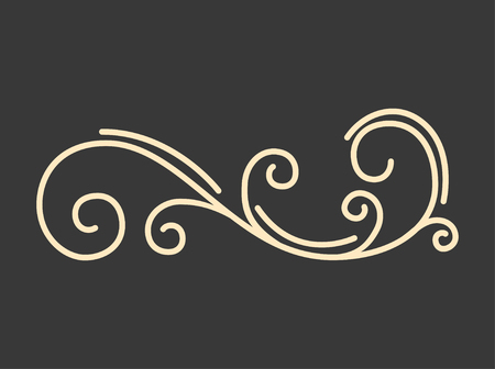 Calligraphic decorative element. Swirling filigree page divider. Flourish ornamental pattern. Save the date, Greeting card design. Vector illustration.