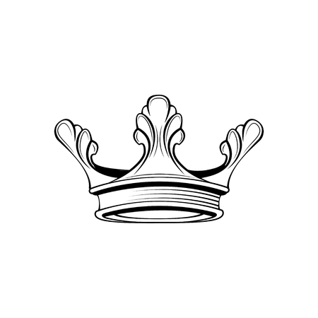 Crown line icon. Royal symbol. King, queen badge. Vector illustration.