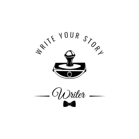 Paperweight icon. Writer icon. Bow tie icon. Write your story. Vector illustration. Vettoriali