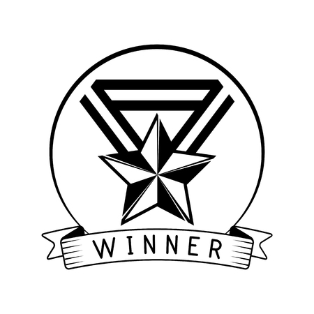 Star medal icon. Winner award badge. Trophy, Reward, Prize. Champions sign. Medal with star and ribbons. Vector illustration.