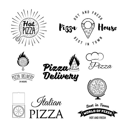 Pizza icons set. Pizzeria, Italian restaurant, Pizza box, Pizza house, Food delivery, Fast food. Wooden stand, Pizza piece in fire. Vintage style. Italian cuisine. Vector illustration.