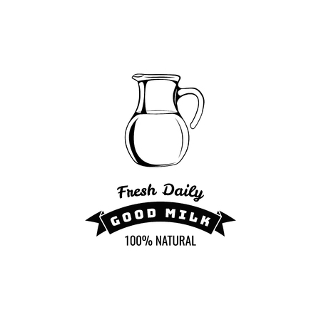 Milk jug icon. Milk drink icon, label. Fresh daily and good milk inscriptions. Vector illustration. Иллюстрация