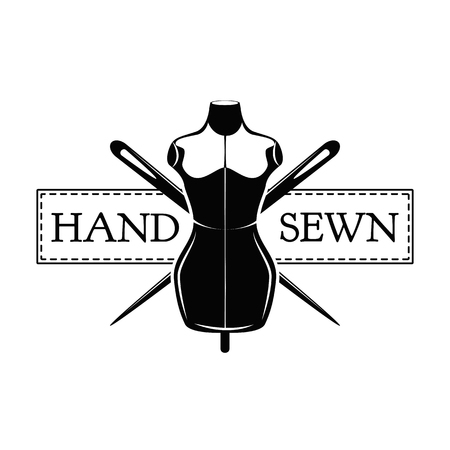 Vintage sewing mannequins. Female body dummy silhouette. Tailors mannequins. Hand sewn inscription. Vector illustration.