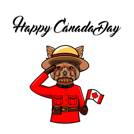 Yorkshire terrier dog. Canadian flag. Happy Canada day greeting card. Dog wearing in form of the Royal Canadian Mounted Police. Vector illustration.