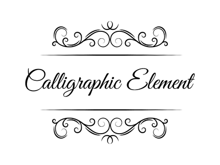 Swirling calligraphic elements. Page decorative devider, border. Ornate frame, filigree floral pattern. Wedding invitation, Greeting card design elements. Vector illustration. Иллюстрация