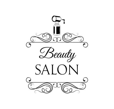 Nail polish icon. Beauty salon icon, label. Decoration, swirls, ornate filigree frame, flourish curls. Manicure salon emblem. Vector illustration. Stock Illustratie