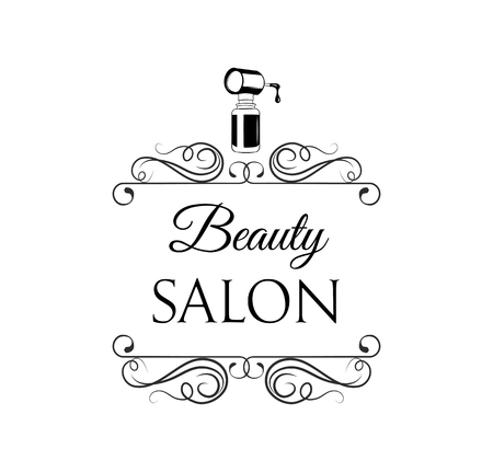 Nail polish icon. Beauty salon icon, label. Decoration, swirls, ornate filigree frame, flourish curls. Manicure salon emblem. Vector illustration. Иллюстрация
