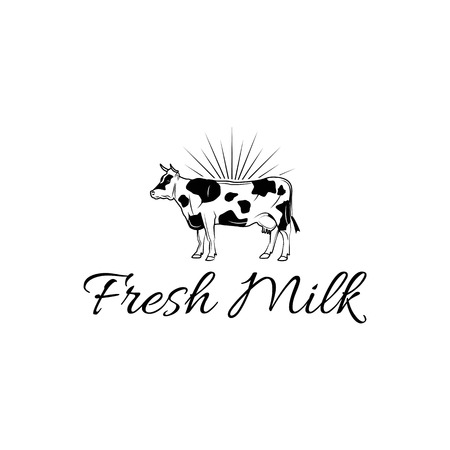 Cow icon. Milk label. Dairy farm icon. Organic farmer products Logotype concept icon. Fresh milk inscription. Vector illustration.