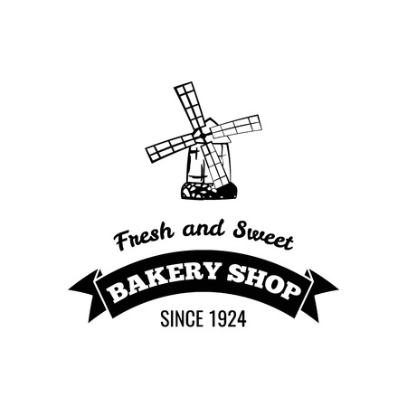 Mill badge. Bakery shop icon, label. Fresh pastry sign. Frash and sweet inscription. Vector illustration. Иллюстрация
