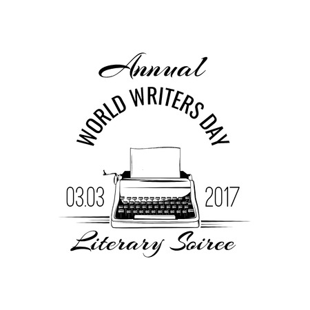 Typewriter badge. World writers day icon. Writer sign.