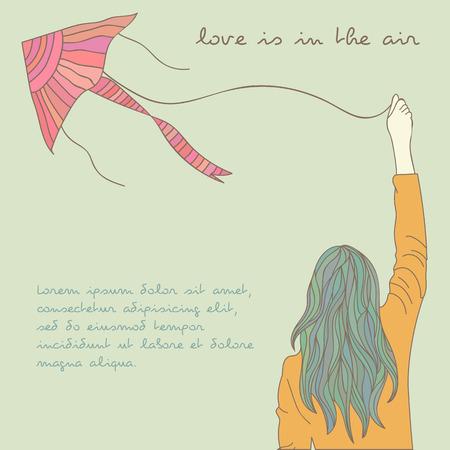 kite surfing: Girl with kite  Vector eps10