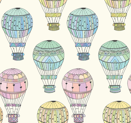 adventures: Seamless pattern bright aerostat Vector eps10 Illustration