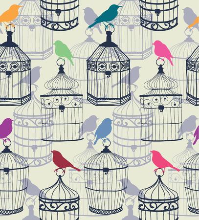 Nahtlose Muster von farbigen Silhouetten von Vögeln und schönen figürlichen Vogelkäfig Vektor-Illustration eps10 Standard-Bild - 37725728