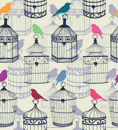 Seamless pattern of colored silhouettes of birds and beautiful figured birdcage  Vector illustration eps10 Vectores