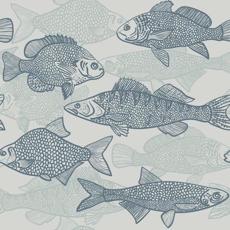 Seamless pattern of blue fish Vector illustration eps10 Illustration