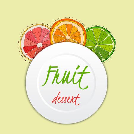 Bright, delicious sliced fruits grapefruit, orange, lime dessert menu template Vector illustration eps 10 Vector