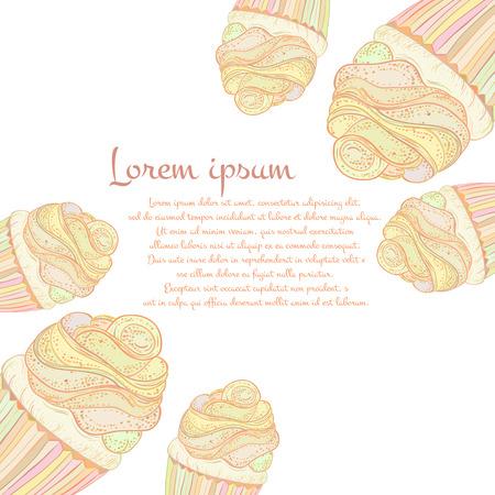 Hand drawn  cupcakes Vector