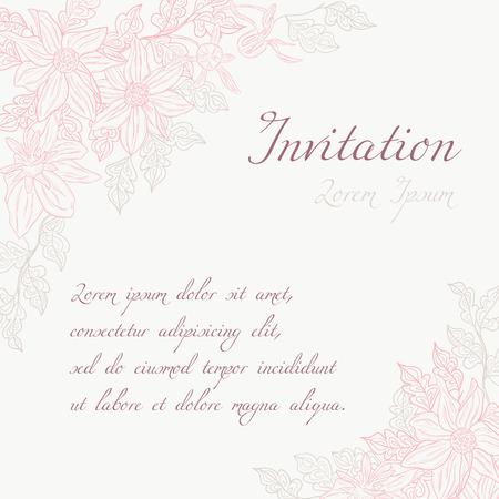 Pink elegant flower frame