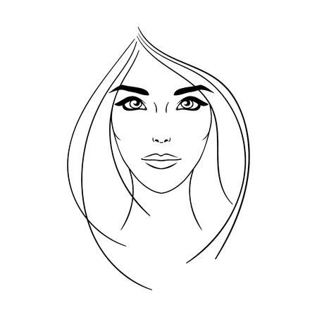 美しい若い女性の顔  イラスト・ベクター素材