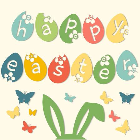 Frohe Ostern Karte mit Eier und Inschrift Frohe Ostern Vector