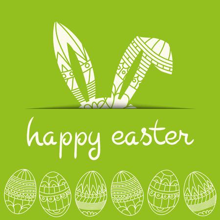 pascuas navide�as: Feliz Pascua invitaci�n verde con los huevos y el conejo y la inscripci�n feliz Vector Pascua