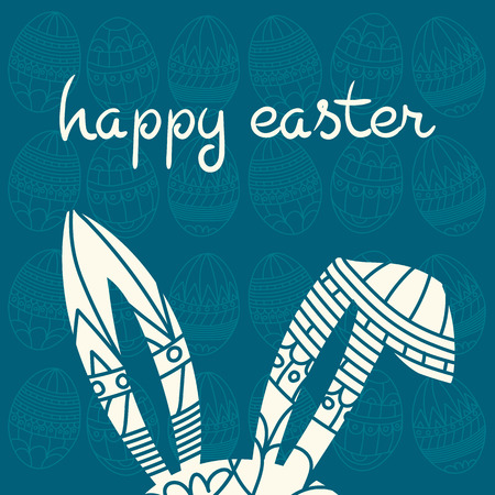 inscription: Happy Easter blue invitation with eggs and decorated ears rabbit and inscription happy easter Vector eps 10