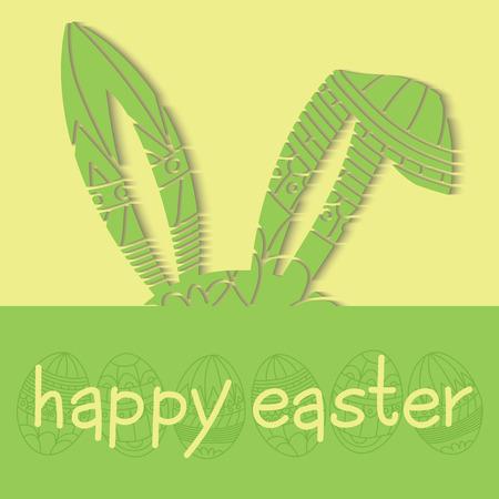 Bonne invitation de Pâques vert avec des ?ufs et décoré oreilles de lapin et l'inscription Vector joyeuses pâques Banque d'images - 38014842
