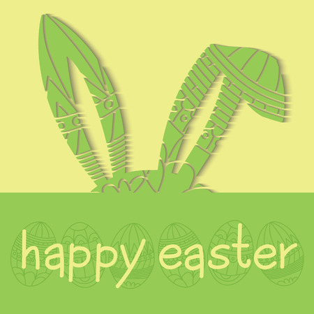 Happy Easter groene uitnodiging met eieren en versierde oren konijn en inscriptie happy easter Vector Stock Illustratie