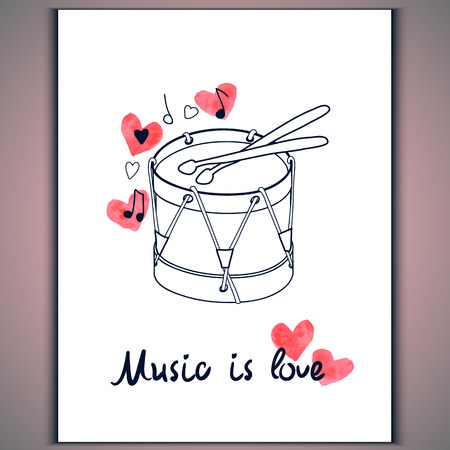 red drum: Hand-drawn drum with watercolor red hearts on white background and inscription music is love Vector eps 10