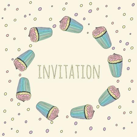 Hand drawn wreath of bright cupcake invitation or card Vector eps 10 Vector