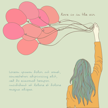 air baloon: Young girl in the orange sweater with blue hair and beautiful red balloons Vector illustration eps 10
