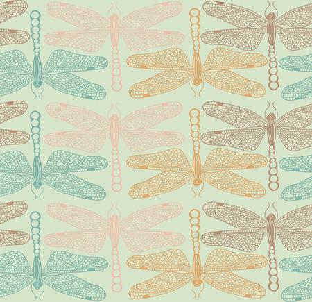 Hand drawn dragonflies seamless pattern Vector