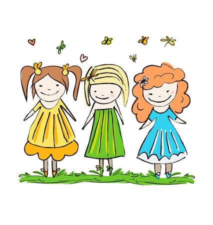 adn: Conjunto de lindos adn ni�os felices del beb� con flores, mariposas y lib�lulas del vector Vectores