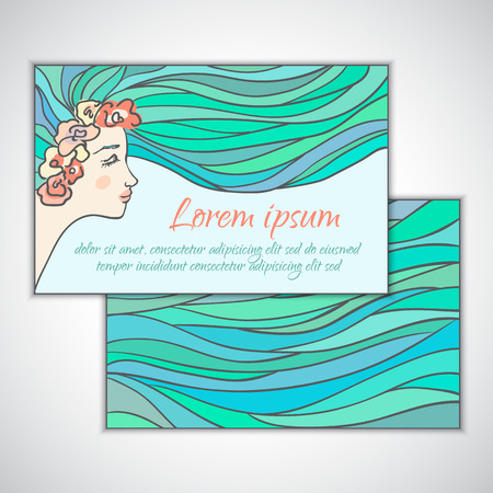 Face of a young girl  women with a wreath of pink flowers and blue flowing hair, business card template beauty salon  shop Vector illustration  Vector