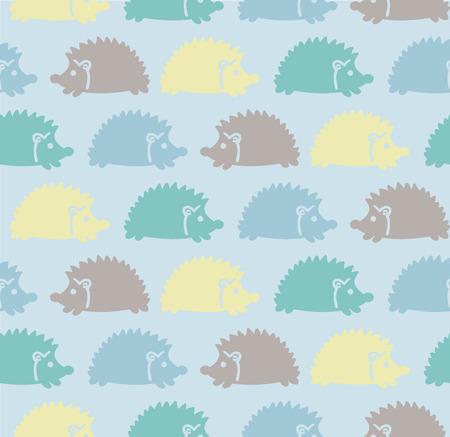 Naadloze schattige baby patroon met gekleurde egels, paars, geel, blauw, groen Vector illustratie Stock Illustratie