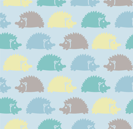hedgehog: Seamless cute baby pattern with colored hedgehogs, purple, yellow, blue, green Vector illustration Illustration