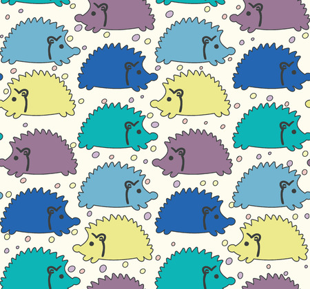 Seamless cute baby pattern with colored hedgehogs, purple, yellow, blue, green Vector illustration Vector