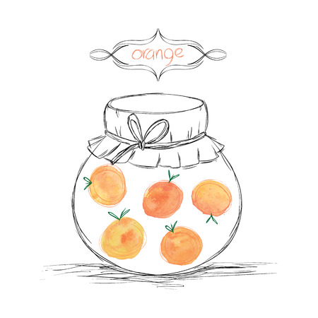 jams: Hand drawn pencil jars tied ribbon with home-made jams of watercolor oranges on white paper and inscription oranges in the curly frame Vector illustration