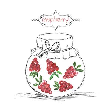jams: Hand drawn pencil jars tied ribbon with home-made jams of watercolor raspberry on white paper and inscription raspberry in the curly frame Vector illustration