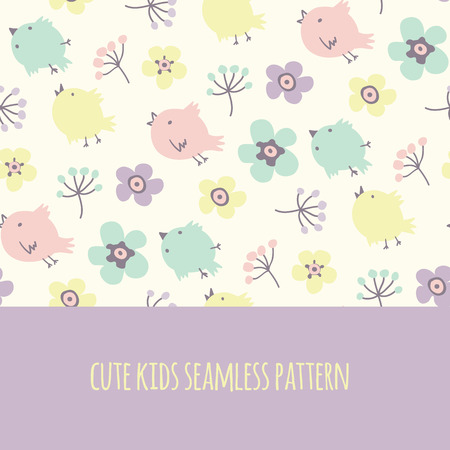 Seamless cute kids pattern with flowers and yellow, blue, pink bird template cards for the birth of a child Vector illustration Vector