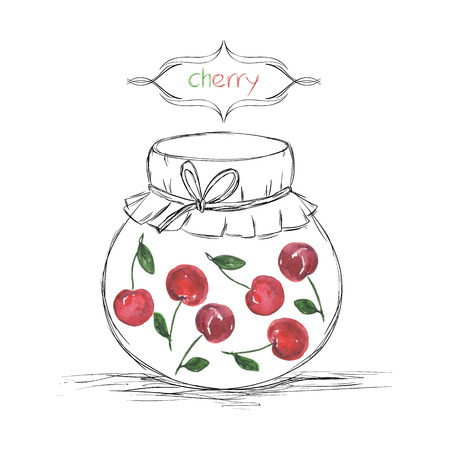 jams: Hand drawn pencil jars tied ribbon with home-made jams of watercolor cherry on white paper and inscription cherry in the curly frame Vector illustration