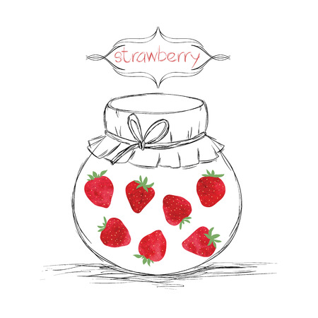 jams: Hand drawn pencil jars tied ribbon with home-made jams of watercolor strawberry on white paper and inscription strawberry in the curly frame Vector illustration