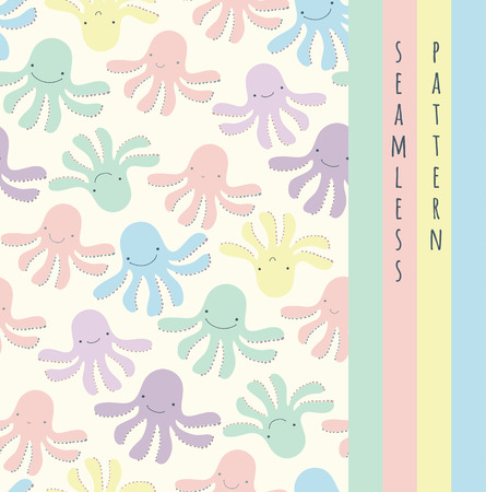 Seamless cute baby pattern with colored octopus, purple, yellow, blue, green Vector illustration Vector
