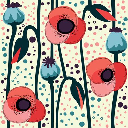 Poppy seamless pattern Vector illustration