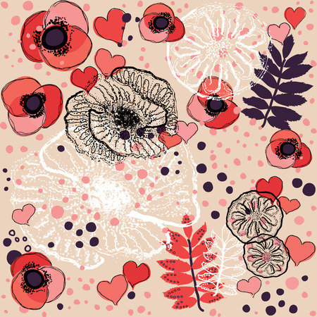 romantic: Romantic red seamless pattern Vector illustration  Illustration
