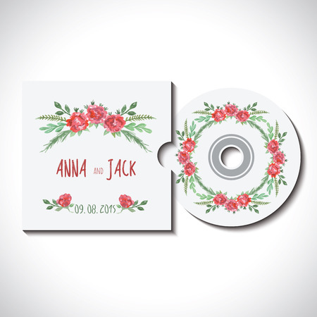 cd: Compact cd dvd disk with cover, identity template with watercolor pink, red, green flowers for wedding, save the date, mothers day, valentines day, birthday white background Vector illustration