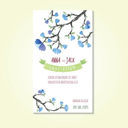 Aquarel sjablonen voor bruiloft uitnodiging sparen de datum kaarten moederdag Valentijnsdag verjaardagskaarten met bloemen en lint voor inscriptie Vector illustratie